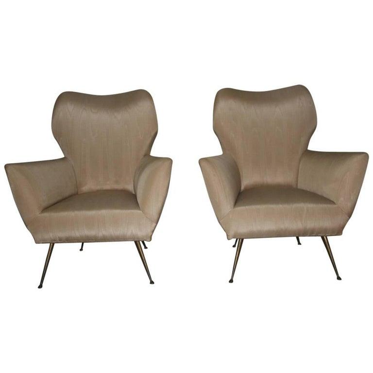 Pair of Italian Design Armchairs with Brass Feet