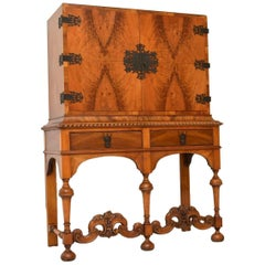 Antique Burr Walnut Carolean Style Cabinet on Stand