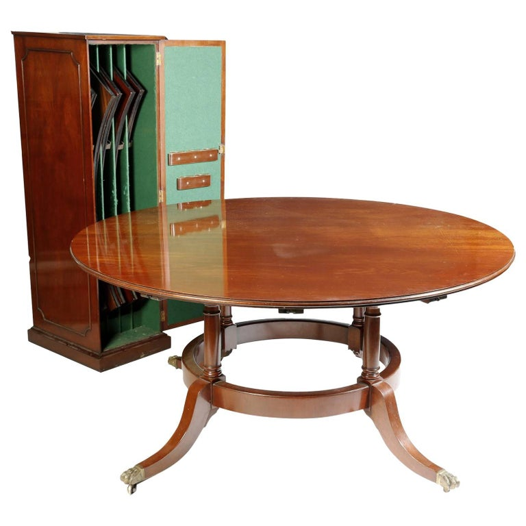 Vintage Mahogany Jupe Dining Table And Leaf Cabinet Mid 20th Century For Sale
