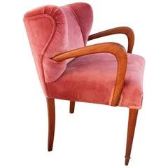 Armchair in Pink Velvet and Italian Design Mahogany Wood