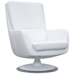 Musterring Designer Armchair Leather White One Seat Couch Modern