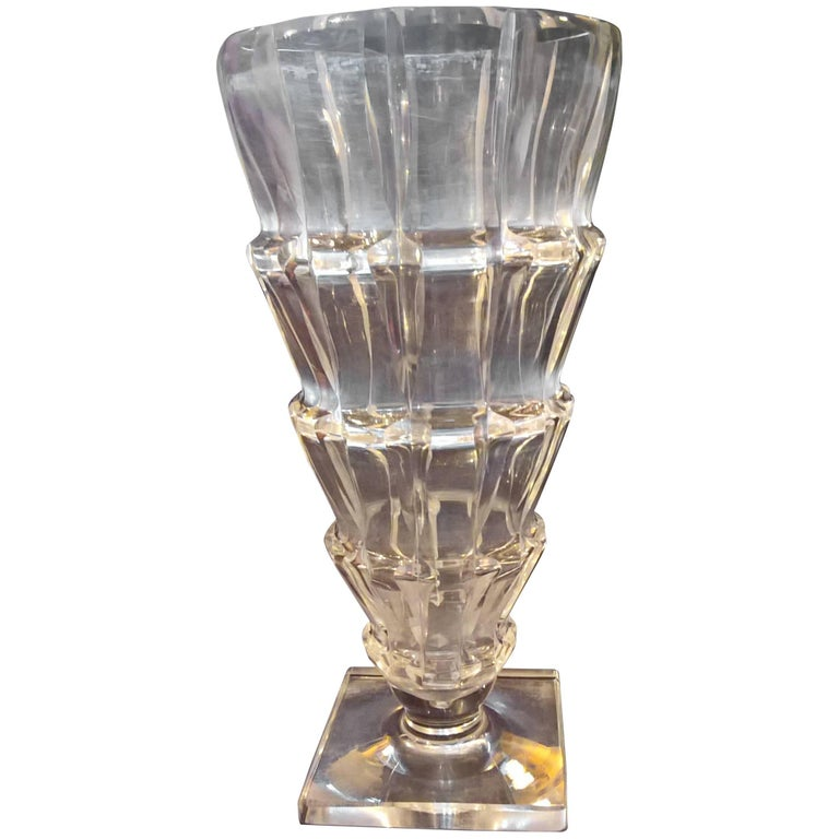 Art Deco French St. Louis Crystal Vase by Sala Jean