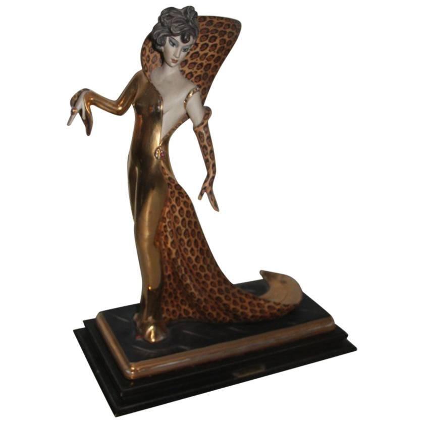 Capodimonte Sculpture Woman Vamp 1970s Italian Design Gold Black