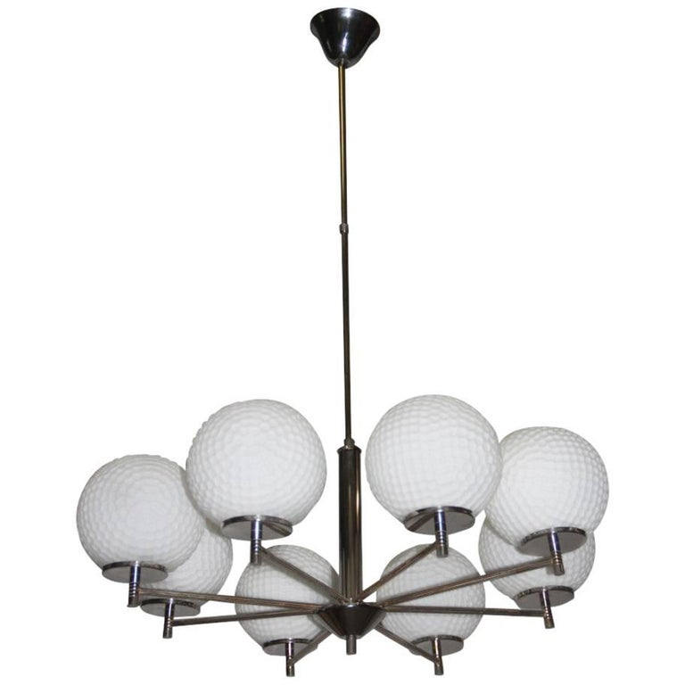 Italian Chandelier Glass And Brass Mid Century Modern For