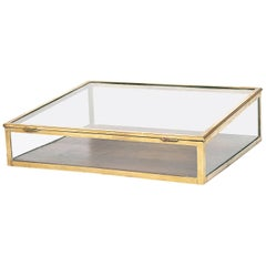 French Art Deco Brass and Glazed Table Vitrine, circa 1920-1930