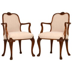 Pair of Antique Carved Walnut Upholstered Armchairs