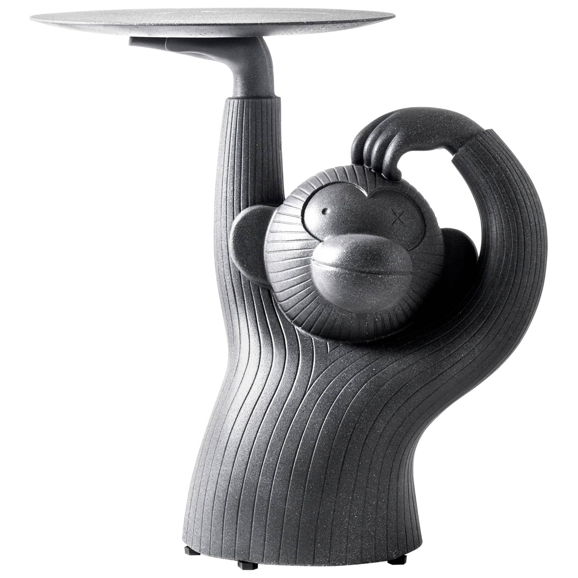 Monkey side table in black concrete by Jaime Hayon