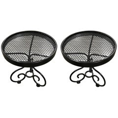 Pair of Salterini Wrought Iron Drinks Tables, Restored