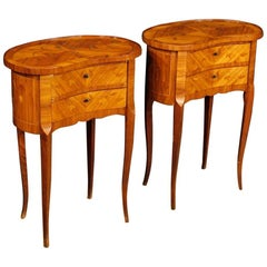 Pair of French Inlaid Bedside Tables in Rosewood, Maple, Fruitwood 20th Century