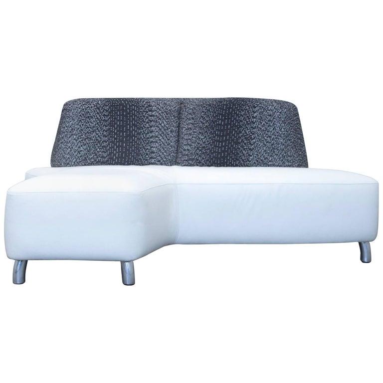 leolux designer corner sofa leather white black couch. Black Bedroom Furniture Sets. Home Design Ideas