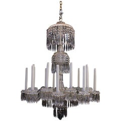 Antique Regency Chandelier with 18 Lights and Unique Hand-Cut Dish