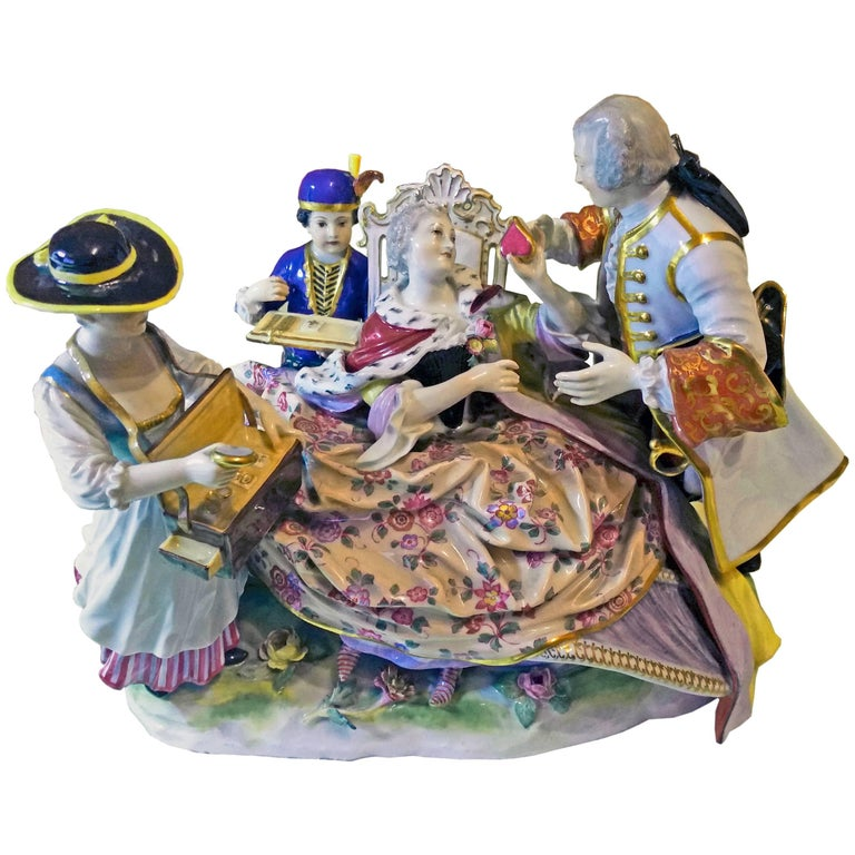 Meissen Gallant Figurines the Sale of Heart Box Model 100, Kaendler, circa 1860 1