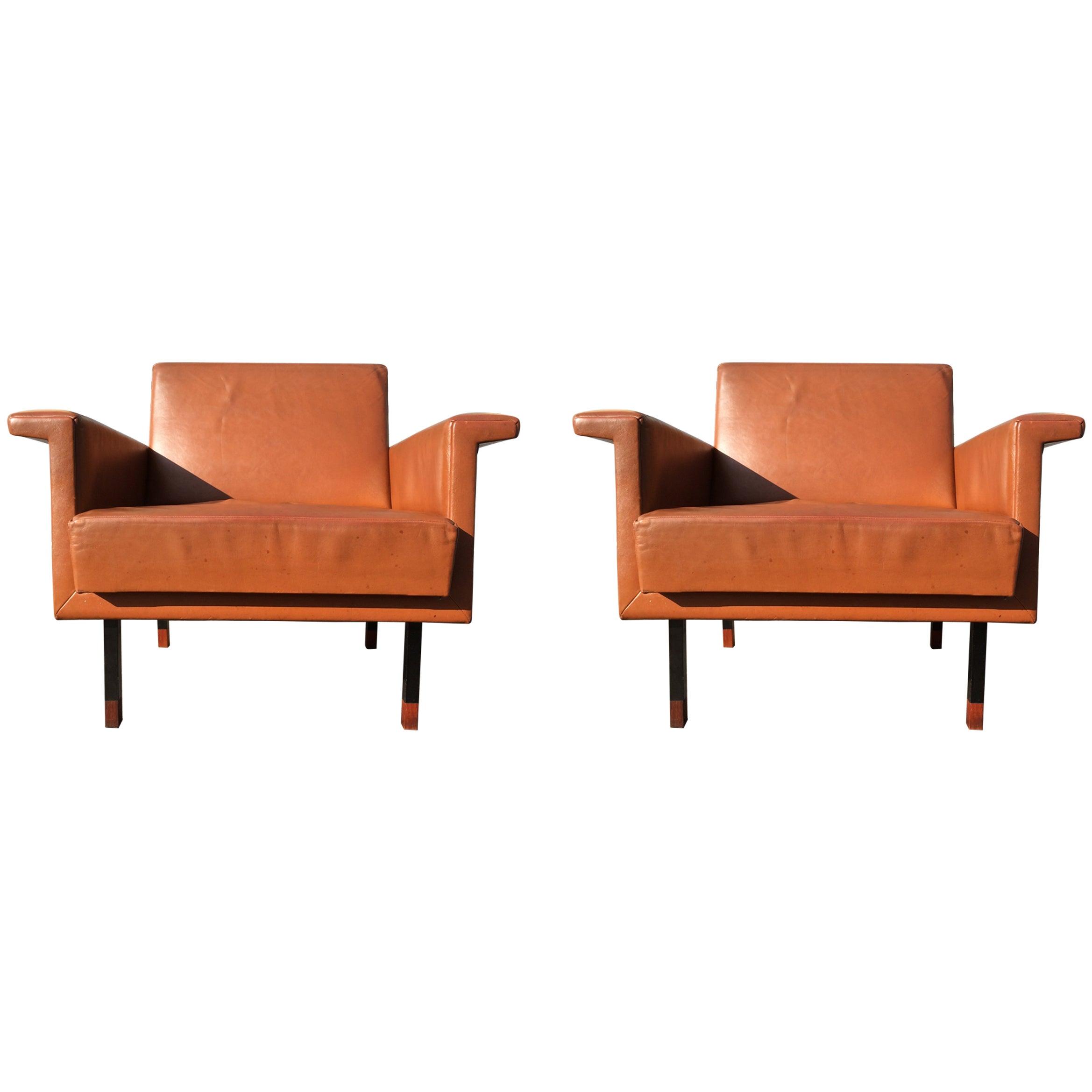 Pair of Eugen Schmidt Soloform Lounge Chairs, Cognac Leather