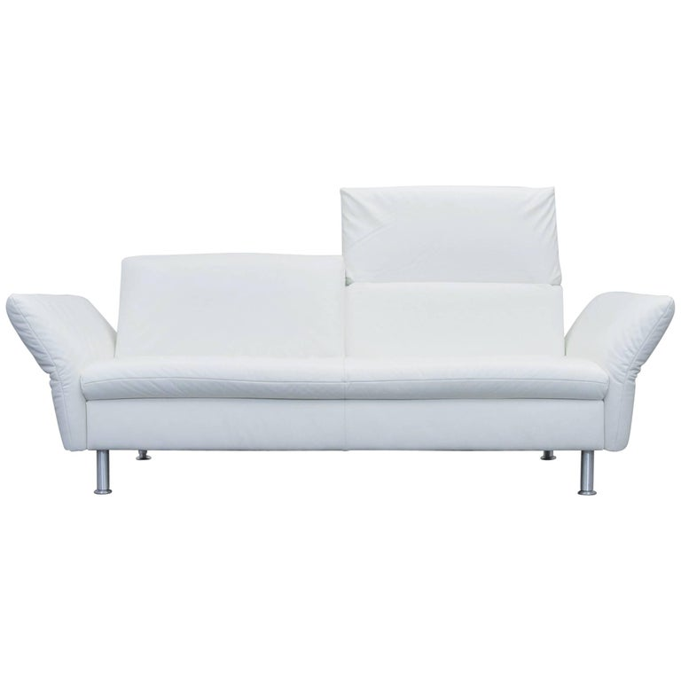 koinor vista designer sofa leather white three seat couch modern at 1stdibs. Black Bedroom Furniture Sets. Home Design Ideas