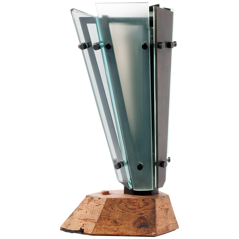 Medium Table Lamp 4 in Local Blackened Steel with Italian Glass