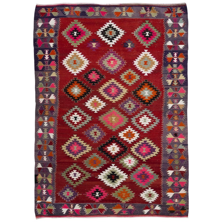 Colorful Vintage Anatolian Kilim, Flat-Weave Rug