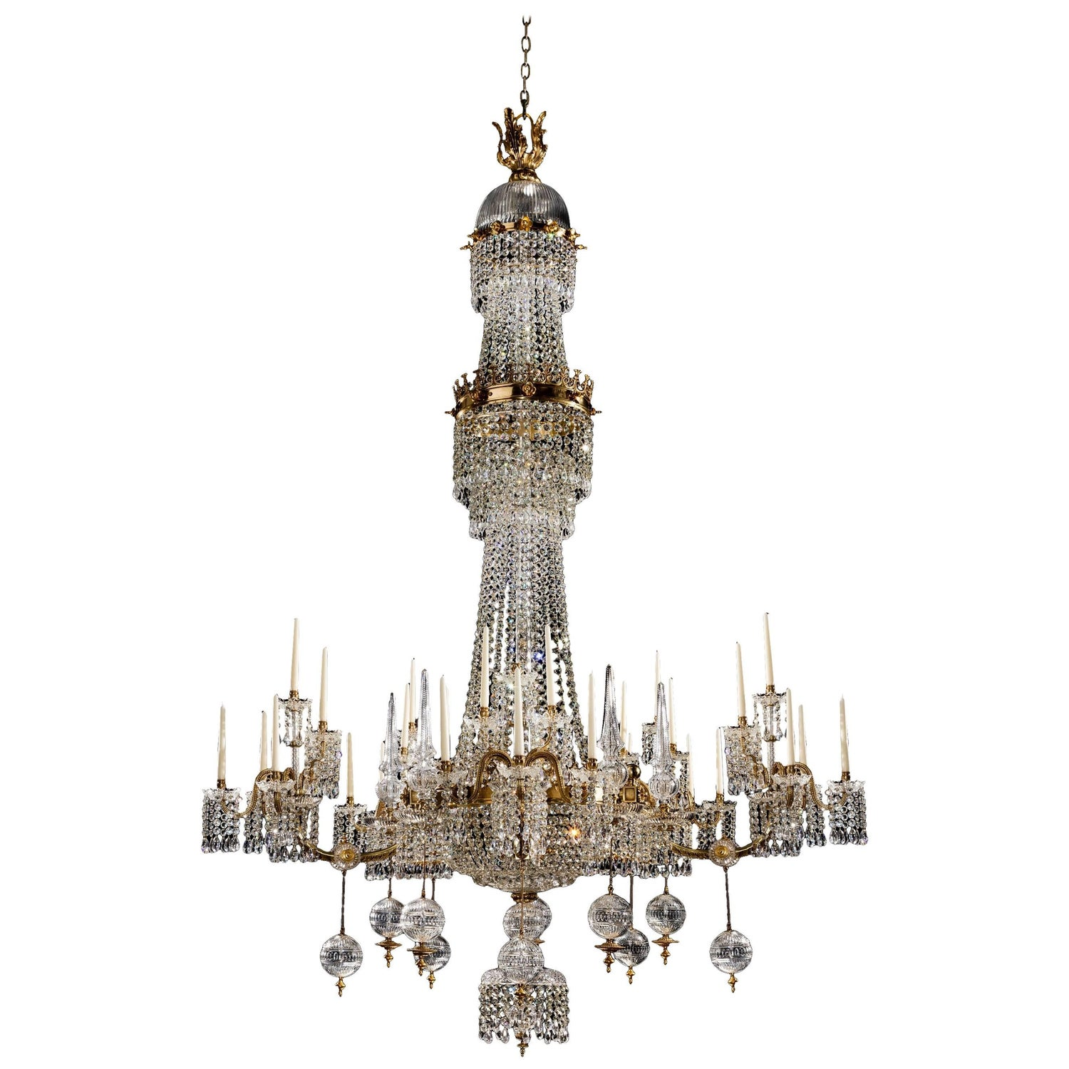 Victorian Sixteen Light Cut Glass Antique Chandelier by Perry and