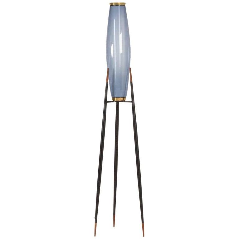 Metal and Glass Floor Lamp by Svend Aage Holm Sørensen