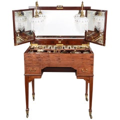 Edwardian Fitted Dressing Table, Silver Gilt Accesories