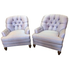 Luxurious Tufted Club Chairs in a Heavenly Light Blue