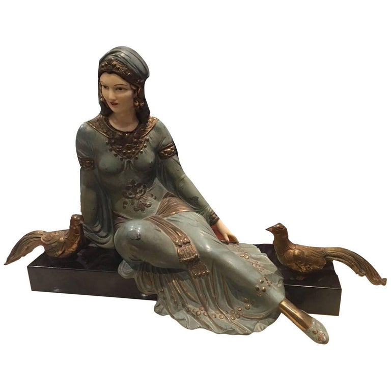 Early 20th Century, Art Nouveau Bronze Sculpture on Marble