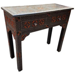 Moroccan Camel Bone and Metal Inlay Console Table Cedar Wood Frame