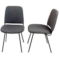 Ein Paar Italienischer Midcentury Stühle aus Schwarzem Metall und Grauer Wolle von Arflex