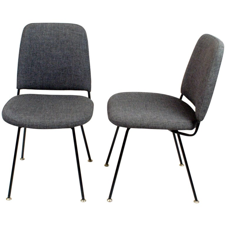 Pair of Two Italian Midcentury Black Metal and Grey Wool Chairs by Arflex