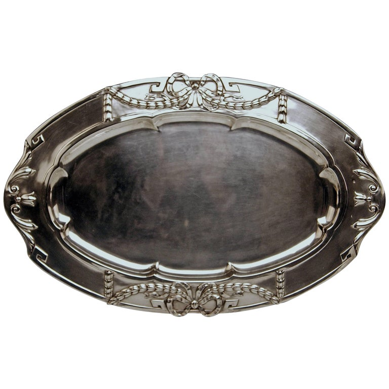Silver 800 Austria Art Nouveau Serving Platter by H. Südfeld For Sale