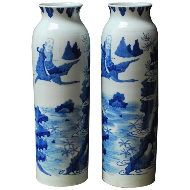 Pair of Chinese Blue and White Porcelain Immortal Vases