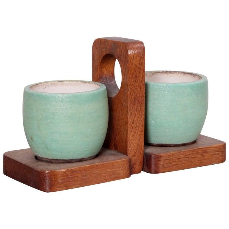 Keramos Ceramic Mugs and Oak Tray, France, 1950s