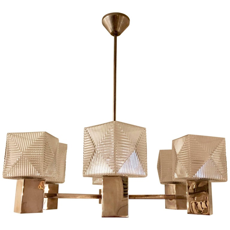 German 1930s Cubist Bauhaus Chandelier Pendant For Sale