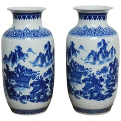 Pair of Large Chinese Export Blue and White Porcelain Vases
