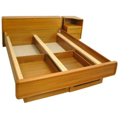 Teak Midcentury Queen Size Platform Bed with Nighstand by Sun Cabinet
