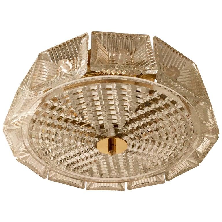 Orrefors Swedish Crystal 1950s Flush Ceiling Hanging Amid Century Pendant