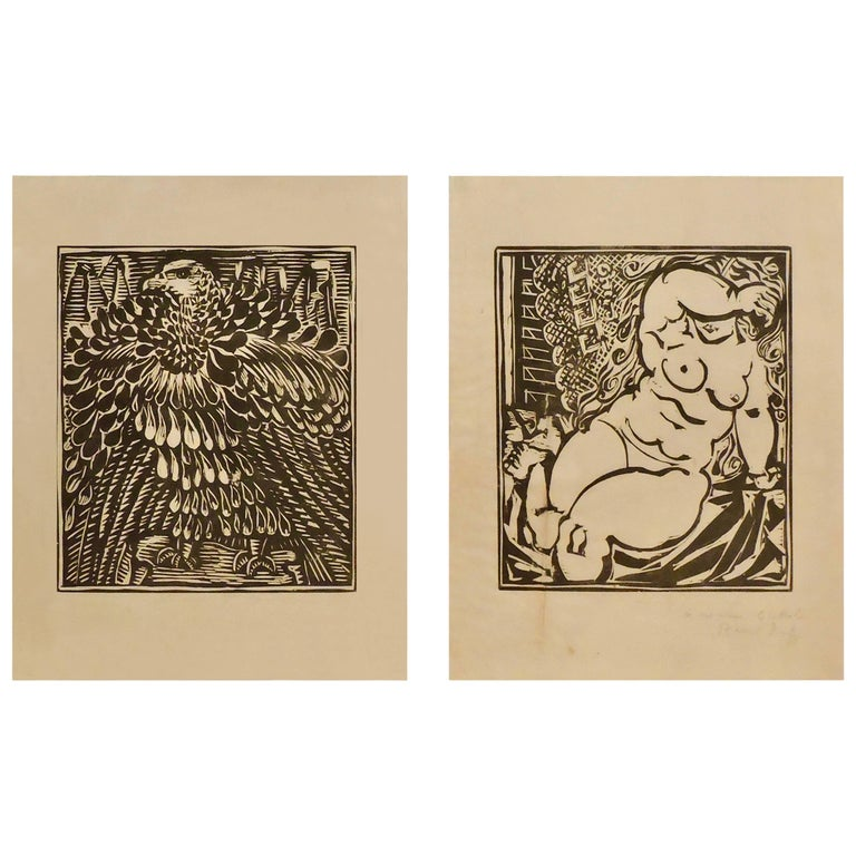 Pair of Framed Raoul Dufy Print-Multiple Woodcut, Chine Volant Paper