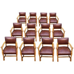 Set Of 12 Oak Arts And Crafts Dining Chairs