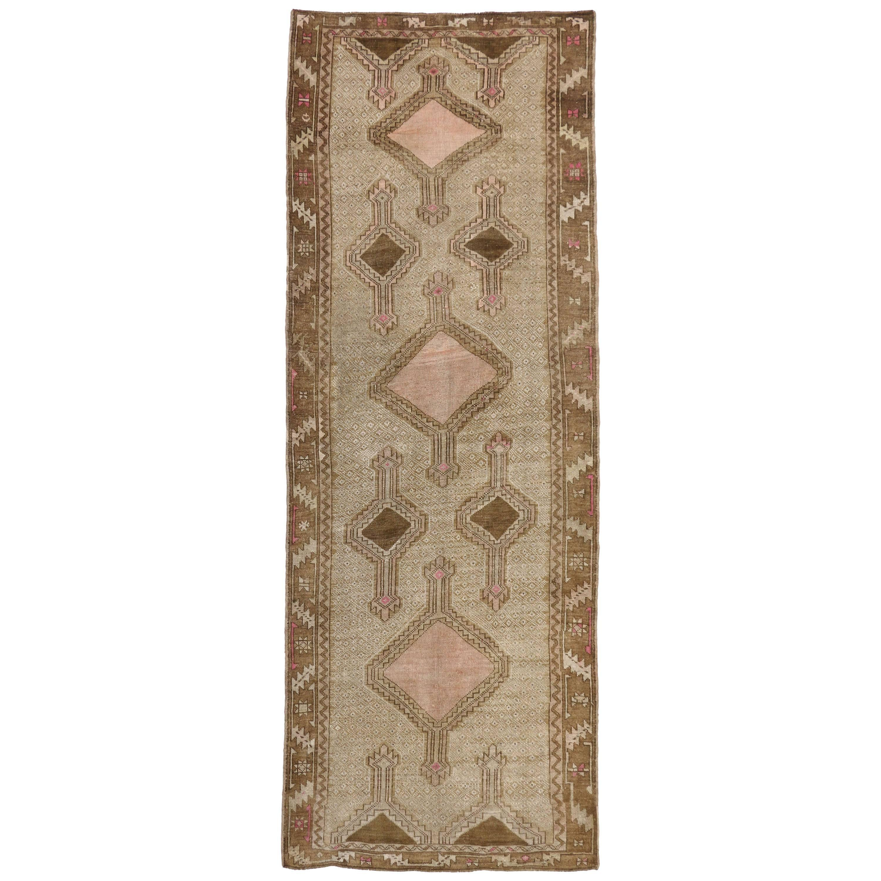 Vintage Turkish Kars Gallery Rug with Modern Bohemian Mission Style