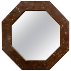 Octagonal Lacquered Parchment Mirror, 1970s Offered by La Porte