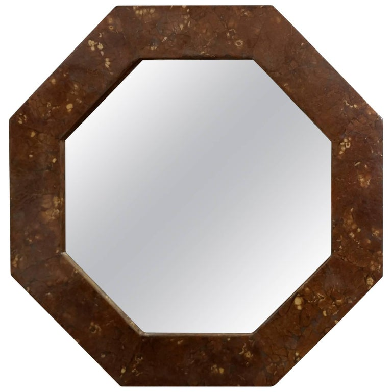 Octagonal Lacquered Parchment Mirror, 1970s Offered by La Porte For Sale