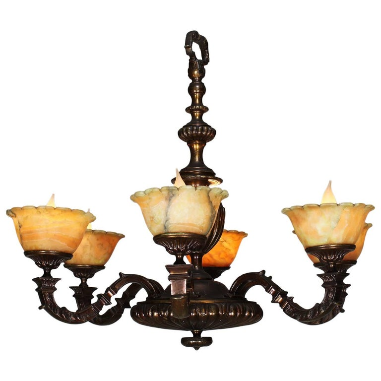 Rare French Art-Deco Patinated Bronze and Amber Alabaster Six-Light Chandelier