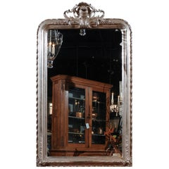 French Rococo Style Silver Gilt Mirror with Rocaille Carved Crest, circa 1880