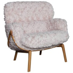 Luca Nichetto De La Espada Elysia Lounge Chair, Pink Argo Fur Danish-Oiled Oak