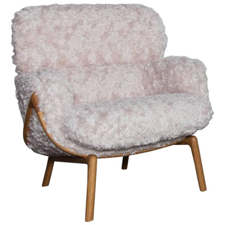 Luca Nichetto De La Espada Elysia Lounge Chair, Pink Argo Fur Danish-Oiled Oak For Sale