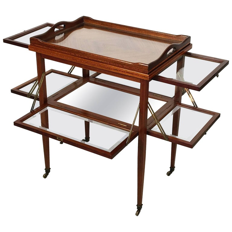 English Drinks Cart or Fold-Down Tea Table with Removable Tray Top 1