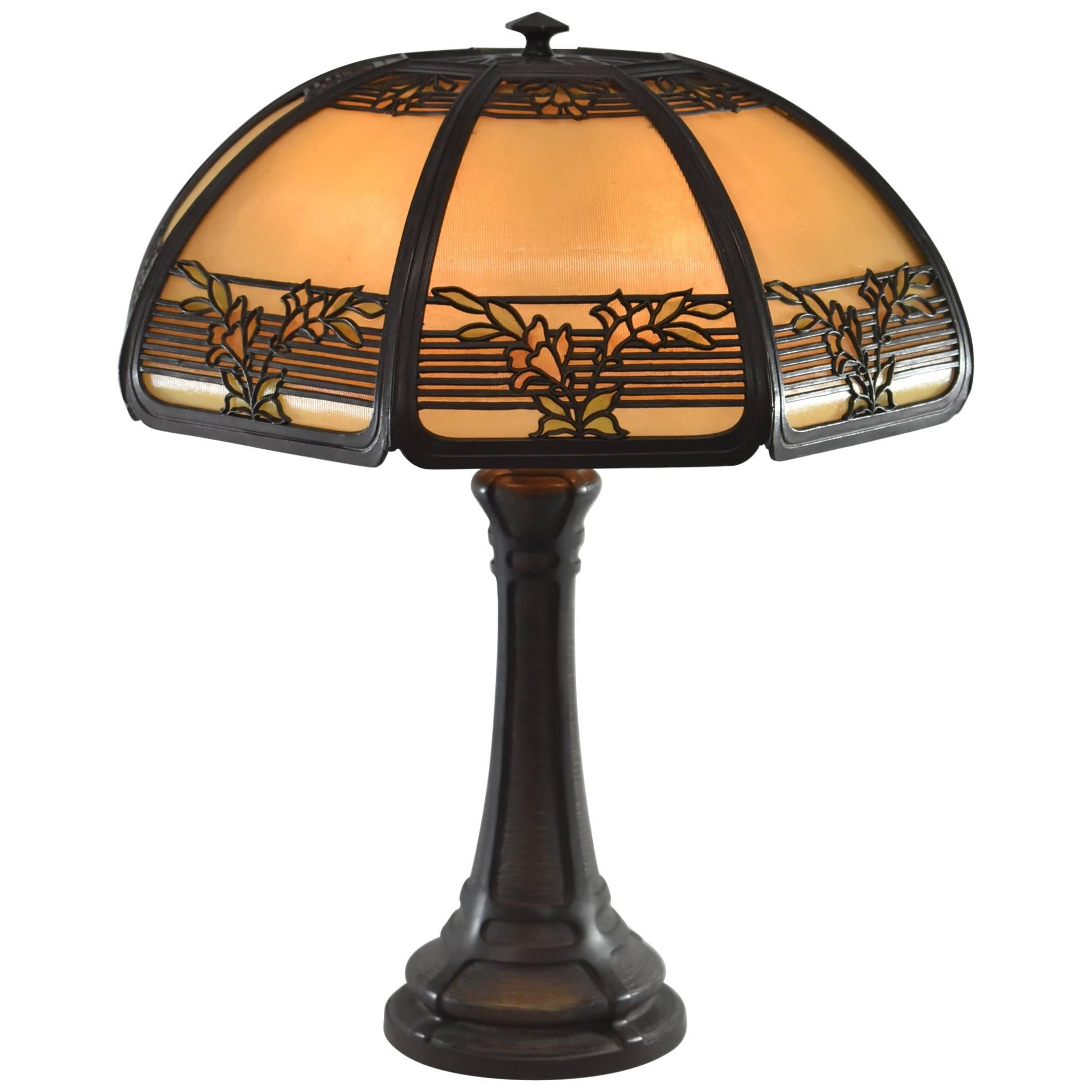 Superb Arts U0026 Crafts Bent Panel Glass Reverse Painted Table Lamp By Bradley And  Hubbard