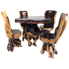 Stylish Rustic Live Edge Game Table with Chairs
