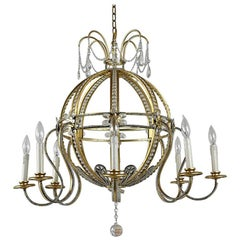 Brass Hollywood Regency Style Chandelier