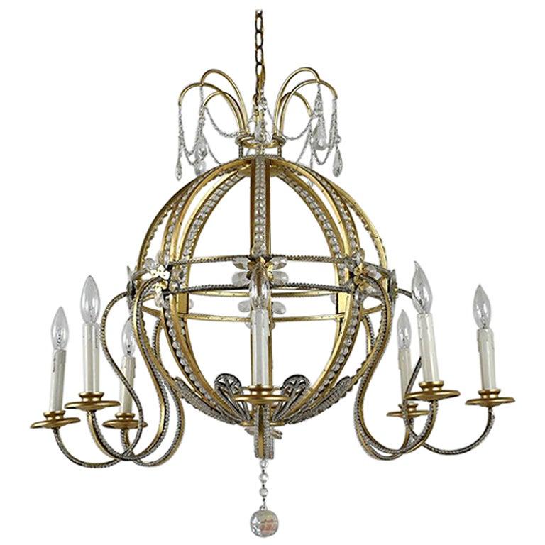 Brass Hollywood Regency Style Chandelier