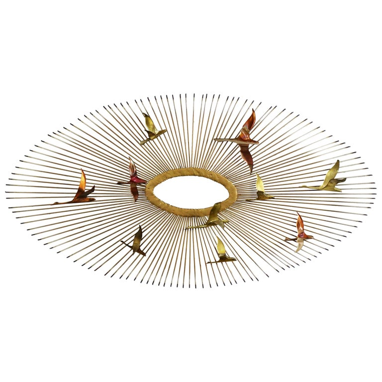 Mid-Century Modern Oval Sunburst and Bird Wall Sculpture Attributed to C. Jere